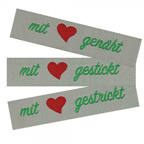 """Étiquette textile """"mit Liebe genäht, gestrickt, gestickt"""""""