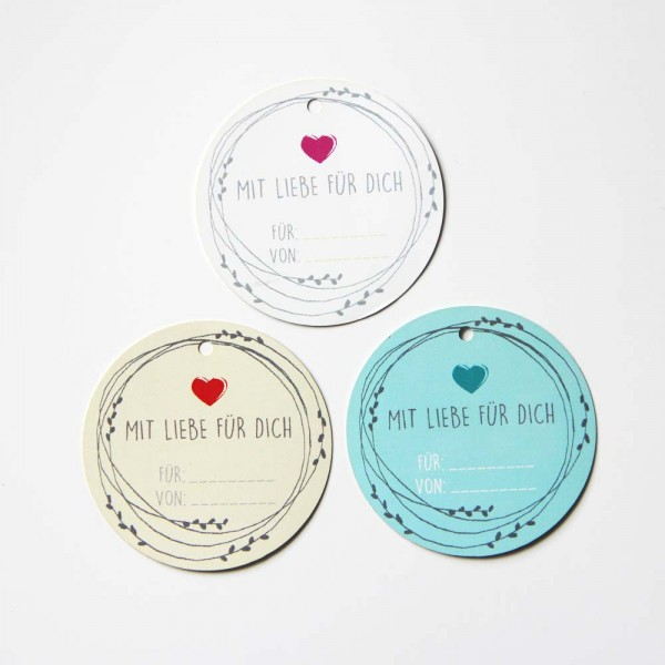"""Etiquette ronde en carton avec l'inscription """"Mit Liebe gemacht"""""""