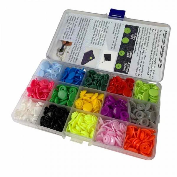Assortiment de boutons-pression ou pins en plastique - rond, médium (Kam Snaps T5)