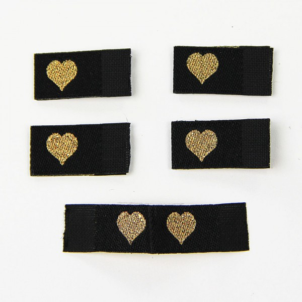 Fix&Fertig - Étiquette textile avec un cœr noir/doré avec taffetas