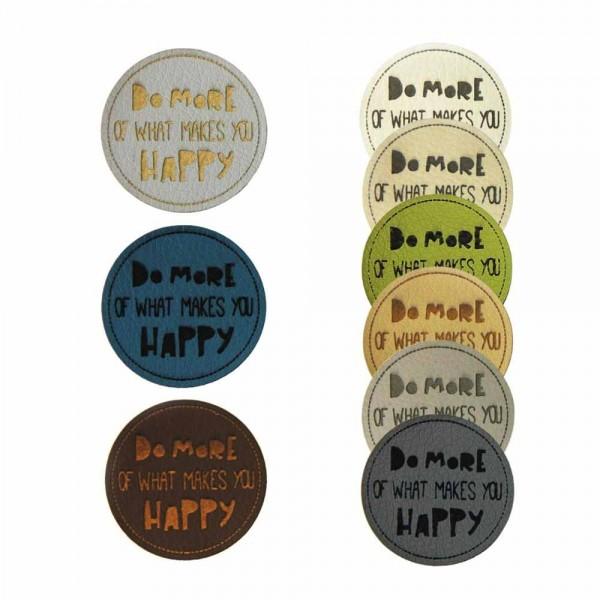Etiquette en cuir synthétique « DO MORE OF WHAT MAKES YOU HAPPY », ronde