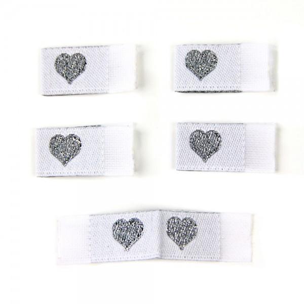 Fix&Fertig - Étiquette textile avec un cœr blanc/argentin avec taffetas