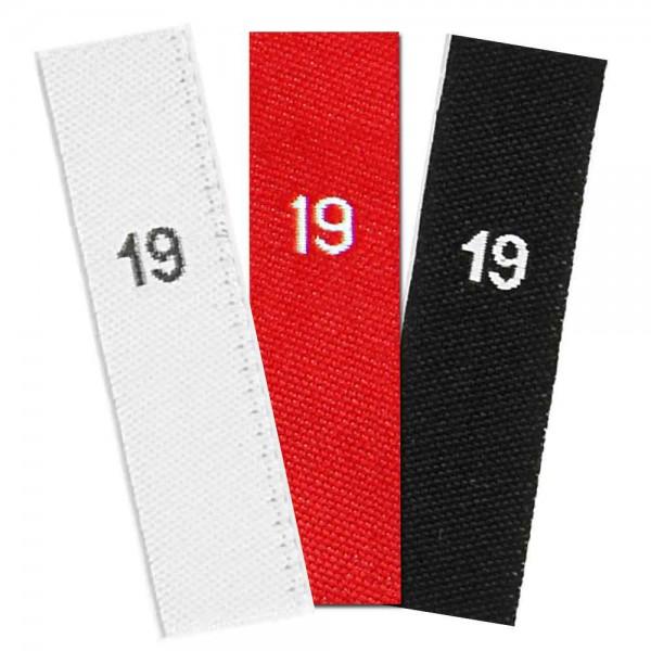 taille étiquettes tissées avec le chiffre 19