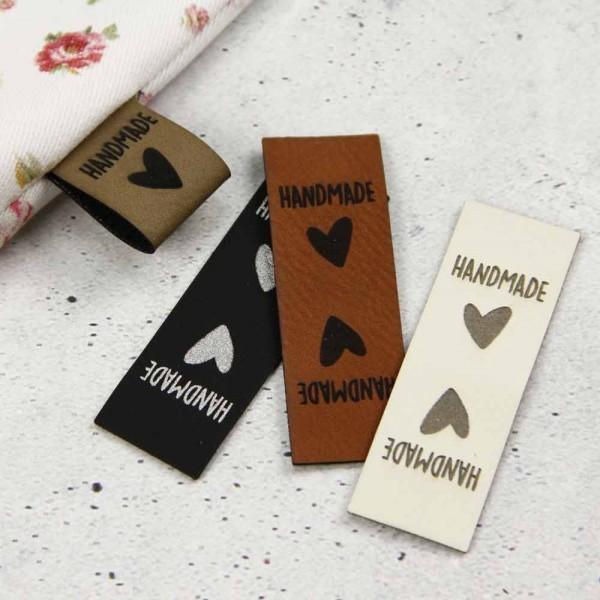 "Étiquette en cuir synthétique ""handmade with love"""