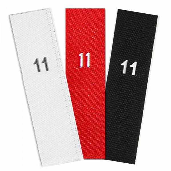 taille étiquettes tissées avec le chiffre 11