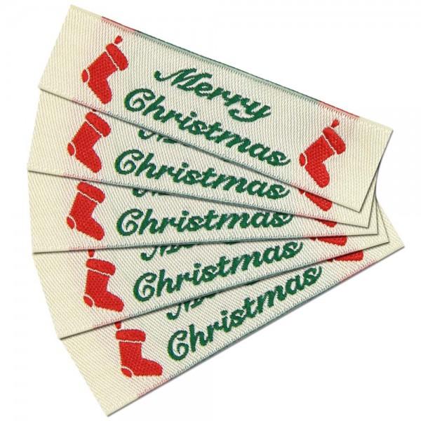 """Textiletiketten """"Merry Christmas"""", Webetiketten"""