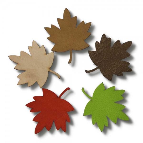 """Parure artisanale feuille """"automne"""" en cuir, 5-pièces"""