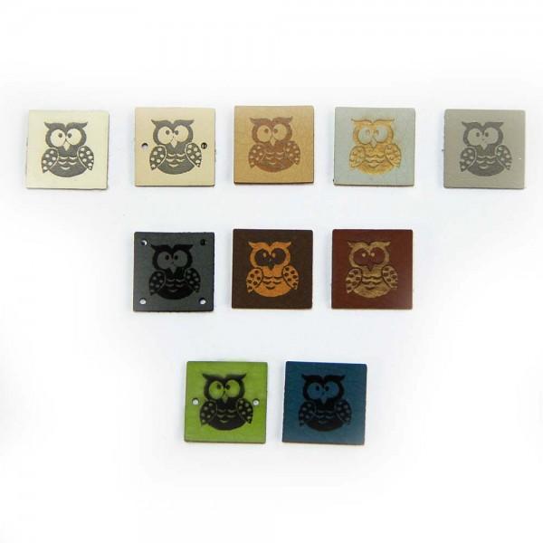 Petite Etiquette Carrée en cuir synthétique – motif «Chouette»