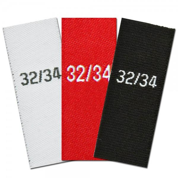 taille étiquettes tissées, taille 32/34
