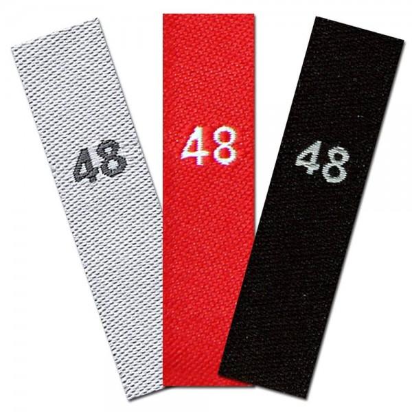 taille étiquettes tissées avec le chiffre 48