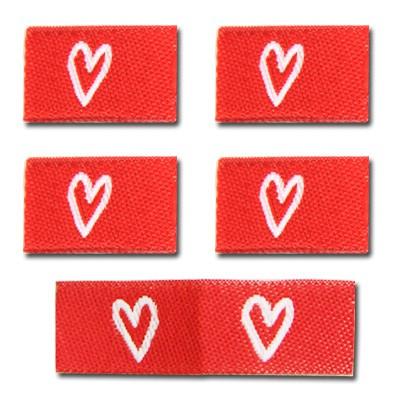 Fix&Fertig - Étiquette textile avec un cœr rouge/blanc 2