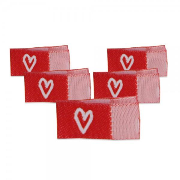 Fix&Fertig - Étiquette textile avec un cœr rouge/blanc avec taffetas 2