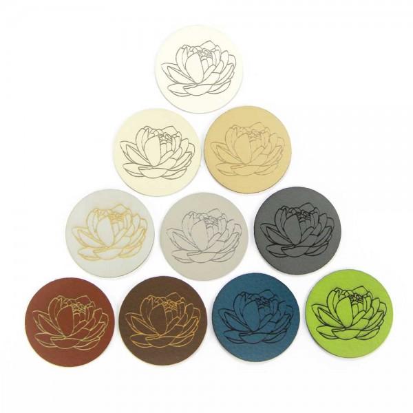 Etiquette ronde en cuir synthétique – motif « Nymphea »