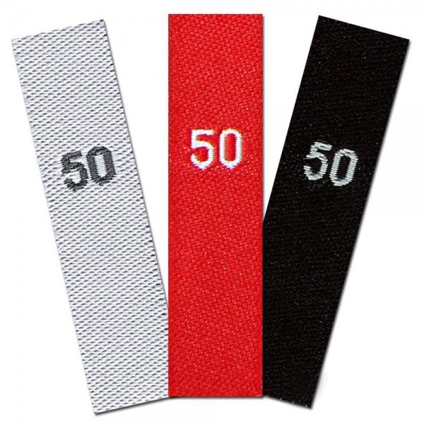 taille étiquettes tissées avec le chiffre 50