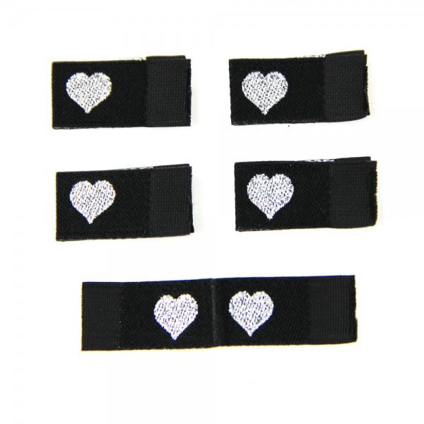 Fix&Fertig - Étiquette textile avec un cœur noir/argentin avec taffetas