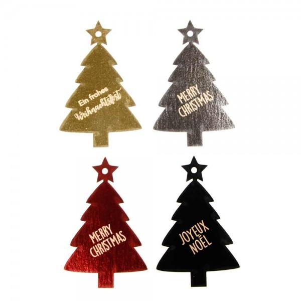 "Hang tags | étiquette cartonnée ""Joyeux Noël"" motif sapin de Nöel effet métal"