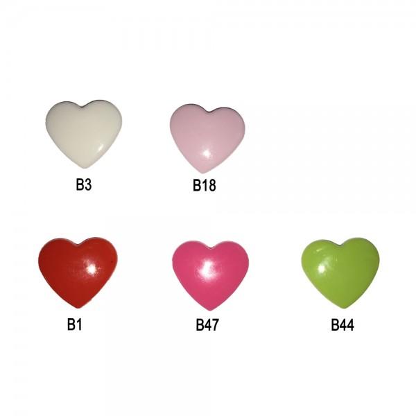 Boutons pressions en plastique - Coeur (Kam Snaps)